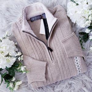 Oscar De La Renta Ribbed Quater Zip Sweater